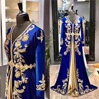 Royal Blue Moroccan kaftan Evening Dresses Long Sleeve Gold Beaded Crystal Floor Length Satin Muslim Prom Dress 2020 Arabic Special Occasion