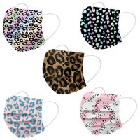 Designer Mask Disposable 3 layers Adult Print Pink Love Leopard White Black Face Masks Non-Woven Anti-Dust Soft EarHoop Mouth Cover