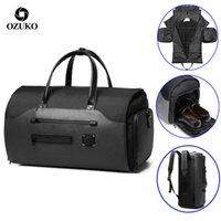 Ozuko Seyahat Çantası İşlevli Erkekler Takım Elbise Depolama Büyük Kapasiteli Bagaj Çanta Erkek Su Geçirmez Seyahat Duffel Çanta Ayakkabı Cebi 210304