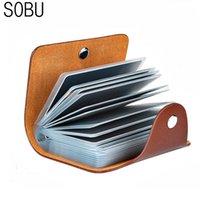 Titulares de cartão PU Função de couro 24 bits Caso Business Holder Homens Mulheres Credit Passport Bag ID de identificação H088