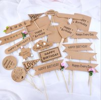 Cupcake Toppers Kraft Paper Party Supplies Vintage Love Heart Letters Picks Food Flags Snacks Sticks for Christmas Wedding Bridal Shower DIY Decoration