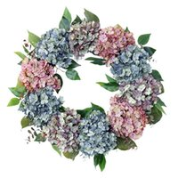 Decorative Flowers & Wreaths 22inch Hydrangea Wreath For Front Door - Handmade Rustic Floral Fall Wall Window Wedding Home Decor