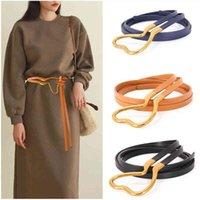 Belts Cinto de couro feminino com fivela sapato tipo cavalo sign ocintal em colorido vestido suter mulher cinto fino X00K