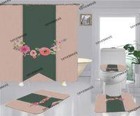 Impressão de moda Banheiro Chuveiro Cortinas Acessórios de Banheiro Casa de assento do toalete 4 peças Set Non Slip Deodorant Bath Tapete