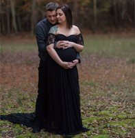 Gothic Black Lace Wedding Dresses Bridal Gowns For Pregnant Women High Waist Maternity Plus Size Long Bohemian Beach Bride Dress With Trains Off The Shoulder