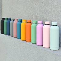 مستقيم 500 ملليلتر البهجة متجمد فراغ معزول زجاجة الرياضة القدح كأس الفولاذ الصلب زجاجة المياه القوارير الملونة الترمس بهلوان H32W34F
