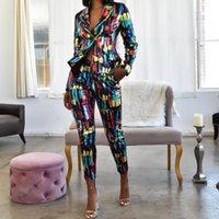 Echoine Bunte Pailletten Frauen Hose Anzüge Blazer Jacke Bleistift-Hose 2-teiliges Set Arbeitsbüro Business-Anzüge Combinaison Femme