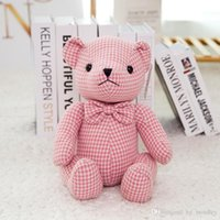 22-28 cm Kawaii Lattice Bear plush Toy Stuffed Soft Lovely Couple Bear Bolls For Children Kid Birthday Gift