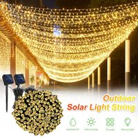 Strings 2PCS 100 LEDs String Lights Solar Power Waterproof Garland Fairy Lamps With 8 Mode For Wedding Party Christmas Halloween Decor