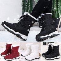 إمرأة ماء منصة الشتاء الأحذية الدافئة أفخم نعل الثلوج الدانتيل يصل الأحذية الكاحل الدانتيل يصل سميكة أسفل الأحذية بوتاس موهير كاوبوي الأحذية S7S2 #