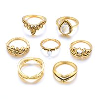 7pcs set Vintage Hollow Carved Flower Rhinestone Ring For Women Men Party Accessories Finger Rings Gold Silver Color