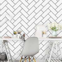 Wallpapers LUCKYYJ Geometric Lines White Papers Peel And Stick Wallpaper Removable Self Adhesive Film Bedroom Wall For Home Decor