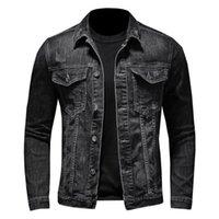 Men's Jackets Men Retro Slim Denim Jacket Streetwear Long Sleeve Turn-down Collar Jeans Coats Many Pockets Plus Size Windproof Button