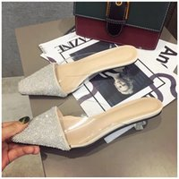 2019 SUOJIALUN New Spring Summer Women Pointed Toe Mules Shoes Brand Bling Crystal Med Heel Slippers Sandal Outdoor Slipper C0313