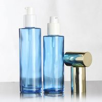 Storage Bottles & Jars Wholesale Empty 120ml Glass Perfume Bottle With Sprayer And Lotion Containers, 4 Oz Blue Toner Packaging Refillable