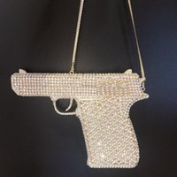 Amazing cool pistol pistol formad bling daimonds handgjorda beading kväll fest påsar mini audiere kvinnor axel handväskor