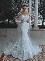 Vintage Arabic Dubai Mermaid Wedding Dresses White bridal Gowns Tulle Lace Appliques beads Illusion Long Sleeves Chapel Graden bride Dress 2022 Spring Summer