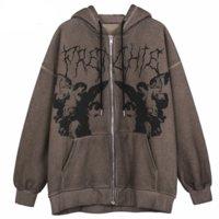 Homens hip hop streetwear jaqueta com capuz anjo cópia escura jaqueta casaco harajuku algodão de algodão outono inverno jaqueta outwear zíper