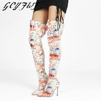Boots Women's Over-the-knee Winter Mixed Colors Totem Zipper-Sid Female Shoes Pointed Toe Thin Heels Printing Sexy Botas Mujer