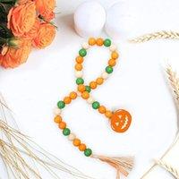 Halloween Pumpkin Wood Bead String Home Decor Wooden Beads Hemp Rope Tassel Beaded Pendant Nordic Style Decoration KKB7797