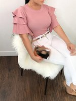 Trendy Women clothes Ruffle Short Sleeve Loose pullover T-Shirts Ladies solid Summer Casual Chiffon Tops one pieces