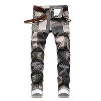 Men's Jeans KIOVNO Plaid Digital Printed Pants Slim Fit Streetwear Denim Trousers For Male Patchwork