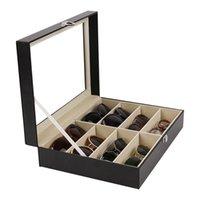Caixa de armazenamento de óculos de sol óculos com janela imitação de óculos de couro expositor organizador organizador coletor 8 slot 45 s2