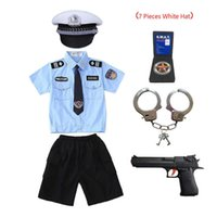 New Kids Child Cop Police Officer Uniform Halloween Costume Boys Girls man Cosplay Suit With Handcuffs Y0913