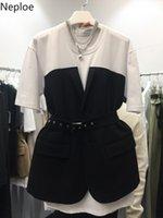 Naploe Gömlek T Kadın Moda Patchwork O Boyun Kısa Kollu Kadın Yaz 2021 Gündelik Sashes Slim Bel Bayanlar Tees Nsko