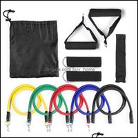 Equipments Supplies Sports & Outdoors 11Pcs Resistance Bands Set Expander Yoga Exercise Fitness Rubber Tubes Band Stretch Training Home Gyms