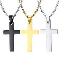 Uomo in acciaio inox Cross Pendant Collanes Men S Religione Fede Crocifisso Charm Catena d'acciaio titanio per le donne Regalo dei monili di modo 75 T2