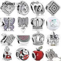 Fahmi 100% 925 Argento sterling 1: 1 Fascino Anguria rossa Green Green Royal Corona Sparkling Butterfly Lucchetto Swan Clear CZ Bow Heart CZ Amore