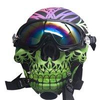 Hookah Silicone Gas Mask Bong smoking Creative Skull Pattern Acrylic Water Pipe with Sun Glasses Dry herb Oil Burner Multifunction Hookahs Shisha