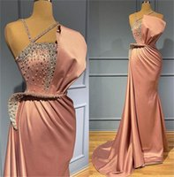 Stylish Satin Mermaid Prom Dresses Beaded Crystals One Shoulder Evening Dress Arabic Formal Second Reception Party Gowns Robe de mariée