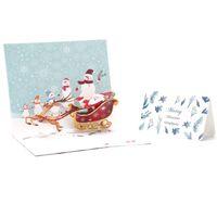 Biglietti di auguri Felice Anno felice origami santa cartolina di Natale allegro xmas 3d stags up cartolina vacanze bambini regalo di