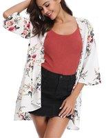 Lose Cardigan-Badebekleidung für Frauen-V-Ausschnitt-Frauen-Kleidung-Kleidung Blumen-gedruckte Womens Rash Guards Mode