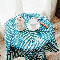 Masa örtüsü toz geçirmez masa örtüsü tropikal bitkiler desen süper kalın pamuk keten moda kapak için yıkanabilir