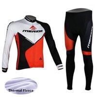 Set da corsa 2021 Merid Pro Team Winter Wrinal Fleece Lungo vestiti set da uomo in bicicletta Jersey Bib Bib Bicicletta Ropa Ciclismo Abbigliamento1