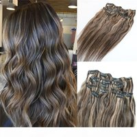7pieces 120g Piano Color Color Human Hair Destensons Clip in ombre Due toni 2 # Brown a 27 # Punti salienti biondi all'ingrosso