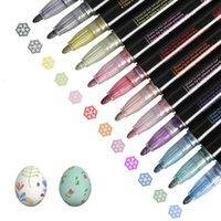 HighLighters 12 Renk Dream Çift Hattı Anahat Sarkan Marker Metal Kontur Kalem Tebrik Kartı DIY