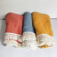 Blankets & Swaddling Muslin Cotton Baby Blanket Fringe 2 Layer Born Tassel Swaddle Warp Bed Pography Props Bath Towel