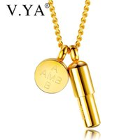 Pendant Necklaces V.YA Stainless Steel Engraved Name Fashion Simple Cricle Can Open For Men Unique Gift Drop