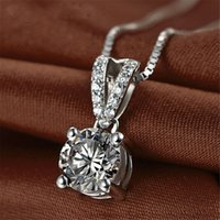 HBP fashion luxury new four claw simple diamond inlaid AAA Zircon Pendant is versatile and popular with Sterling Silver Necklace