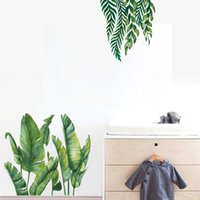 Wall Stickers Tropical Green Leaf Sticker For Living Rooms Bedroom Sofa TV Background Aisle Corridor Home Decor Children Room Decoration