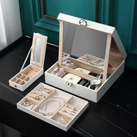 NewcreaGrace Grande de couro PU multi-camada organizador de jóias com espelho garota colar anel brinco jewellry armazenamento caso caixão EWA6484