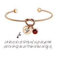 Bangle MyLongingCharm-Knotenarmband mit Birthstone und anfänglicher Charme Gewohnheit oder Name für Ihre Manschette