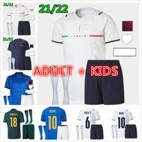 Itália Soccer Jersey 2021 Barella Sensi Insigne 20 21 Renascimento Chiellini Bernardeschi Camisas de futebol Men + Kit Kit uniformes