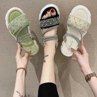 Vestido sapatos limpar saltos moda mulheres 2021 fêmea sandália dois weare clogs cunha muffins sapata meninas luxo fora elastic band com