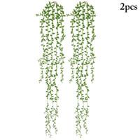 Dekoratif Çiçekler Çelenkler 2 adet Yapay Asma Asılı Sahte Bitki Yeşil Ivy Yaprak Ev Düğün Dekorasyon