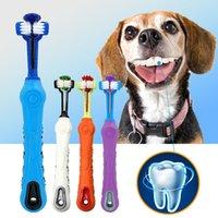 Perro cepillo de dientes suave mascota gato cepillo de dientes con tres lados perros goma cepillo diente de goma mal aliento tártaro dientes herramienta accesorios para mascotas